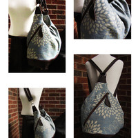 Extra Large Diaper Bag - Light Blue Floral Canvas with Leather - Convertible Baby Bag
