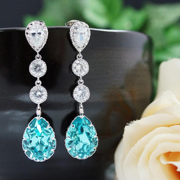 Wedding Bridal Jewelry Bridal Earrings Bridesmaids gift Dangle Earrings cubic zirconia connectors and Light Turquoise Swarovski tear drop