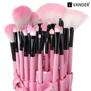 Vander MULTIPURPOSE 32pcs Makeup Brushes Kits Professional Foundation Powder Oval Brush Face-painting Beauty Tool maquiagem Pink