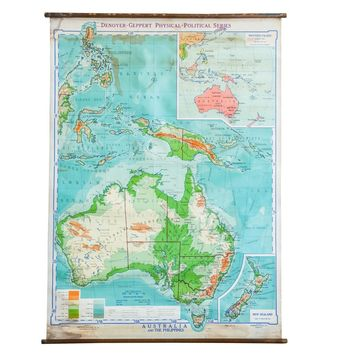 Vintage 1940s Denoyer Geppert Pull Down Map of Australia and Phillipines