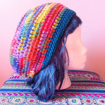 Rainbow Crochet Slouchy Hat - Boho Hippie Dread Tam - Womens Winter Hat