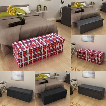 Folding STORAGE BOX BENCH SEAT Ottoman Foot Stool Home Office