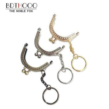 10PCS 5cm Antique Bronze Metal Coin Purse Frame Handle with Keyring Kiss Clasp Lock  Bags Hardware for Clutch Bag Accessories