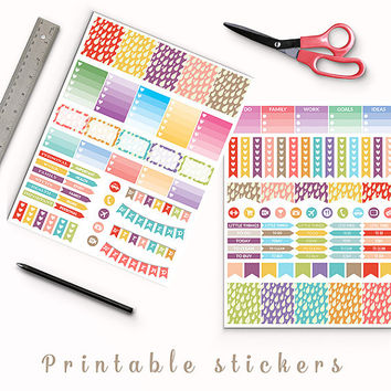 50% OFF SALE Pastel Drops Stickers Printable Planner Stickers Erin Condren Box Stickers Page Flags Weekend Banners To Do Stickers Weekly Kit