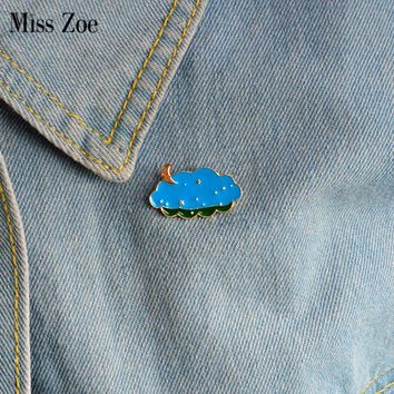 Miss Zoe Cartoon pins Moon and stars clouds brooch Pins Childlike Button Pin Denim Jacket Pin Badge Jewelry Gift for Kids