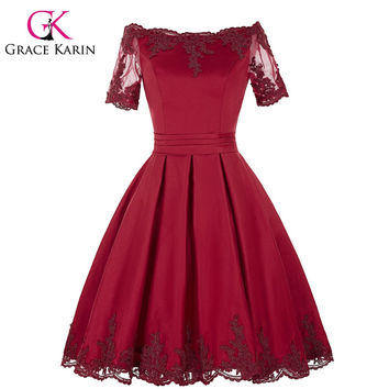 Grace Karin Champagne Dark Red Cocktail Dress Short Sleeve Satin Ball Gown Robe De Cocktail Bandage Party Short Prom Dress 2016