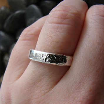 Silver Rain Nautical Wedding Ring