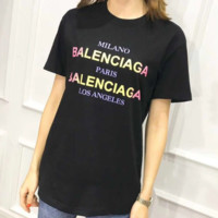 2018 early spring and summer new men and women with the same paragraph rainbow color logo logo printing gradient short-sleeved T-shirt