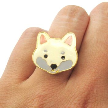 Shiba Inu Puppy Face Shaped Adjustable Animal Ring in White | Limited Edition Jewelry