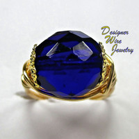 DWJ0214 Stunning Czech Cobalt Blue Gold Wire Wrapped Ring All Sizes
