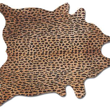 6'x7' Leopard Print Hide, Brown/Black, Area Rugs