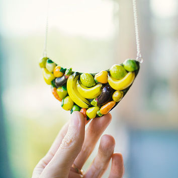 Necklace Happy Vegetables on tapes, yellow and green vegetables vegetarian jewelry
