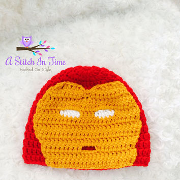 Marvel Iron Man Super Hero Crochet Beanie / Hat photo Prop for Newborn - Adult Size