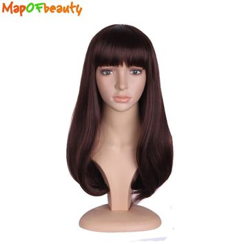 MapofBeauty Long Curly Hair 20inch Dark Brown Black Cosplay Synthetic Wigs For Black Womens Party Nautral Full Bang False Peruca