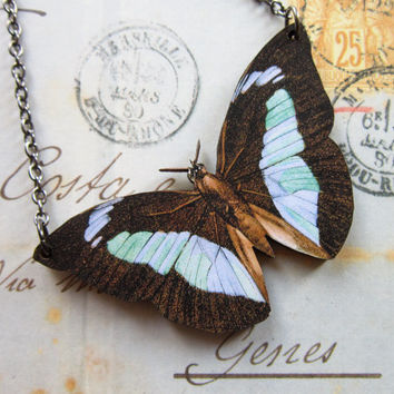 Butterfly Woodcut Necklace -  Large Blue & Brown Wooden  Butterfly Pendant