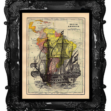 Antique Old Ship on Map Vintage Book Print Dictionary or Encyclopedia Page Print map Print on Vintage Book art