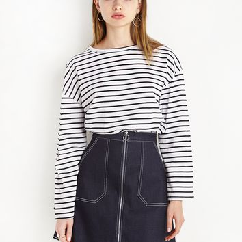 Ring Zipper Denim Pocket Skirt - Contrast Stitch Denim Skirt
