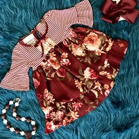 2018 Fall Adorable Maroon Floral Vintage Dress