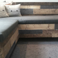 Reclaimed Barnwood Modern Upholstered Sectional Sofa