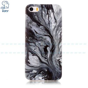 Ultra-thin Silicone Black Water Marbled iPhone Case
