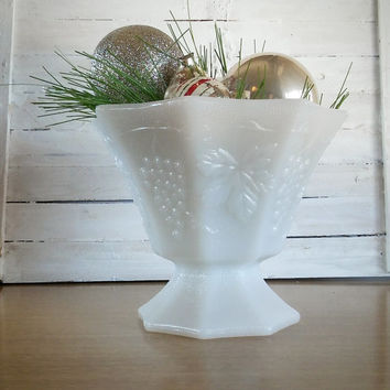 Vintage Milk Glass Grape Pattern Candy Dish, Hocking Milk Glass Compote Dish Grape Pattern
