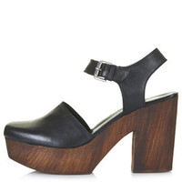 SMILE Leather Wooden Platform Clogs - Black