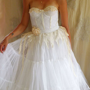 Cloudia Bustier Wedding Gown... Size S/M... boho whimsical fairy eco friendly free people vintage inspired recycled tutu shabby chic