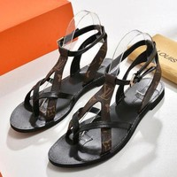 LV Fashion Women Classic Louis Vuitton Leather Buckle Sandals Shoes I/A