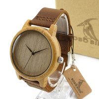 BOBO BIRD A19 Mens Wooden Watch Plain Wood Dial Bamboo Case Quartz-watch with Leather Strap in Gift Box horloges mannen 2016