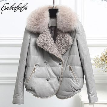 Women Sheepskin Genuine Leather Jacket Loose Winter Down Coats Natural Fox Sheep Fur Jackets Outerwear for Women Real Fur Coat
