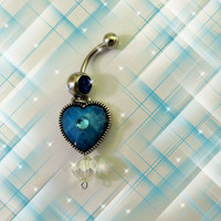 SALE-Belly Ring Peacock Turquoise Heart with Swarovski Crystal, Belly Button Jewelry, For Her