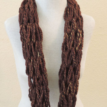 Knit Infinity cowl scarf, Brown long  knitted scarf, hand knitted scarf, loop scarf, knitted scarves, thick winter scarf