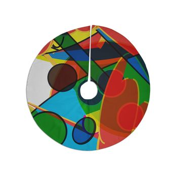 """Frederic Levy-hadida """"Overloaded 2"""" Red Blue Digital Tree Skirt"""