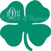 Shamrock Monogram Decal - Monogram Four Leaf Clover Sticker