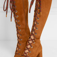 Prada - Lace-up suede knee boots
