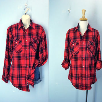 Vintage Flannel Shirt / Buffalo Plaid Acrylic Shirt
