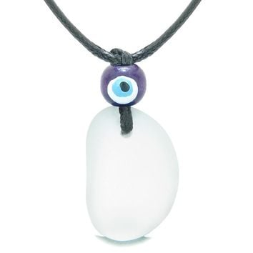 Free Form Unique Frosted Sea Glass Mist White Water Drop Evil Eye Protection Amulet Adjustable Necklace