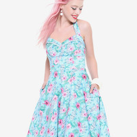 Blue Floral Tiki Swing Dress
