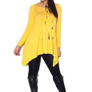 Yellow Long Sleeved Scoop Neck Distressed Top