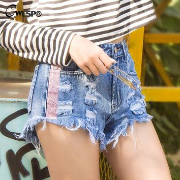 CWLSP Tassel Side Striped Summer Women shorts Jeans with holes High Waist Short Pants Woman Denim Shorts short feminino QL3648