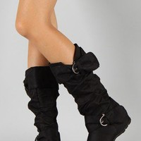 Bamboo Jester-52 Buckle Slouchy Knee High Boot