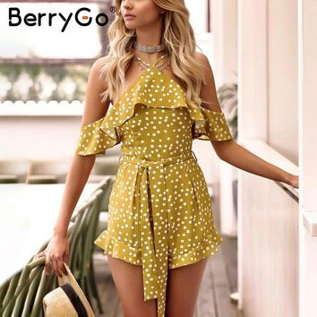 BerryGo Halter cold shoulder summer jumpsuit Women strap polka dot short overalls Casual ruffle backless playsuit macacao 2018