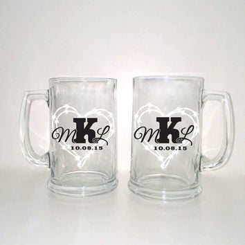 Western Style Beer Mugs Heart Monogram Set - Custom Beer Glass, Barb Wire Heart, Couple Glasses, Wedding Favors