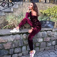 2016 Women velvet Jumpsuit blue Hooded Tracksuits Full Sleeve long pants ladies Casual loose Jumpsuits womens Backless Rompers