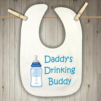 Blue Bib for Baby Boys - Daddy's Drinking Buddy - Drool Bib - Baby Shower Present for Boys - Teething Bib - Football Season Bib