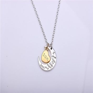 hand stamped i love you to the moon and back charm necklace silver gold son gift box  number 1