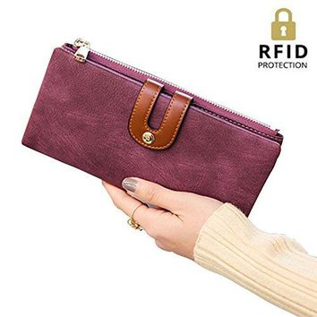 IFUNLE Womens RFID Blocking Long Clutch Slim Wallet Large Capacity Thin Bifold Wallet Card Holder Cash Key Passport Checkbook Organizer Zipper Buckle Travel Coin Purse Handbag