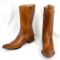 Harley Davidson Boots Sz 8 Western Brown Leather Pointy Toe Wrapped Heel