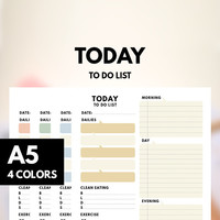 Day Planner A5 Filofax insert Printable, Today To do list, A5 Filofax, Goal Planner ,Healthy Planner,Daily Schedule, Pastel Color
