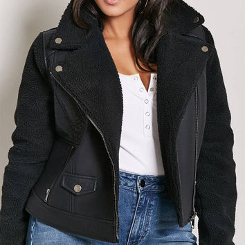 Plus Size Faux Shearling Moto Jacket